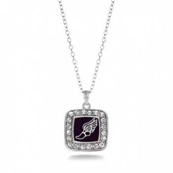 Track Runner Running Track & Field Charm Classic Silver Plated Square Crystal Necklace - C911MCHXQI9