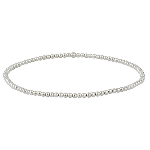 Silverly Women's .925 Sterling Silver Polished Tiny 2 mm Bead Ball Elastic Stretch Bracelet - C8128S8LUXN