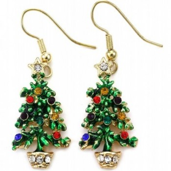Happy Colorful Christmas Tree Earrings Hoop Dangle Drop Style - C6110PVPGUP