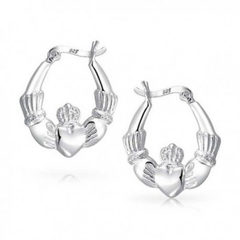 Silver Polished Claddagh Heart Earring
