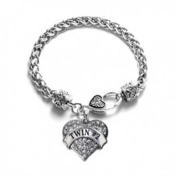 Twin 2 1 Carat Classic Silver Plated Heart Clear Crystal Charm Bracelet Jewelry - CP11VDKOPJP