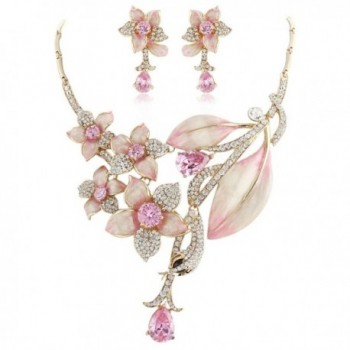 EVER FAITH Hibiscus Leaf Necklace Earrings Set Cubic Zirconia Crystal Gold-Tone - Pink - C711N7IIOSJ