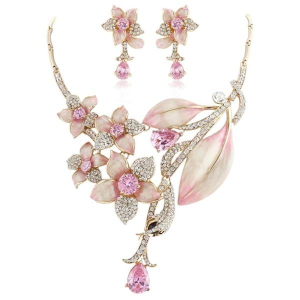 Hibiscus Leaf Necklace Earrings Set Cubic Zirconia Crystal Gold Tone