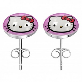Stainless steel fashion stud earrings - HelloKitty pink - C417YHWA48R