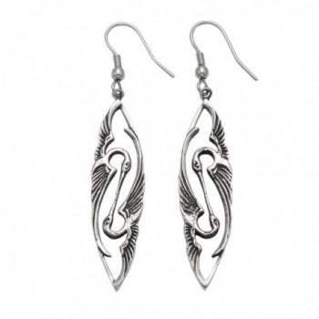Stainless Steel Art Deco Kissing Heron Wire Earrings - CA11GGTDNZZ