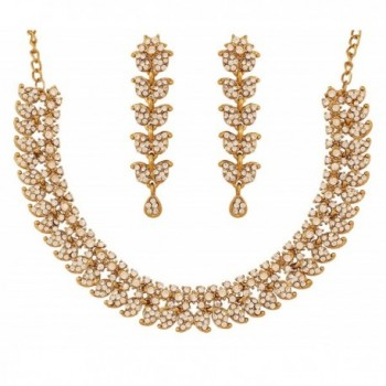 Touchstone Indian bollywood paisley motif rhinestones wedding jewellery necklace set in antique gold tone - Gold - CP12L5AWRFF