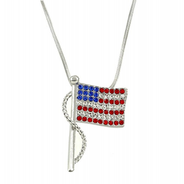 Lola Bella Gifts Crystal USA American Flag Pendant Necklace with Gift Box - CU12MXE037Z