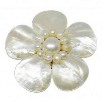 Bijoux De Ja Mother of Pearl and White Pollen Shell Pearl Flower Brooch Pin - C111EMXS2GH