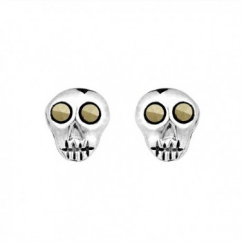 Marcasite Style Pyrite Mini Punk Skull Push Back .925 Sterling Silver Stud Earrings - CQ11QGM4WFH