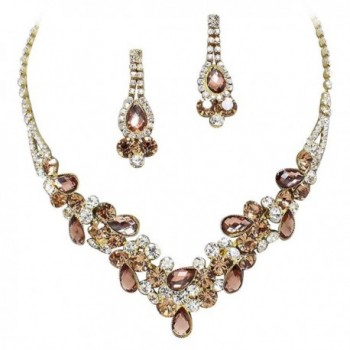 Elegant Bronze Brown V-Shaped Garland Prom Bridesmaid Evening Necklace Set K2 - C911P9HKZW9