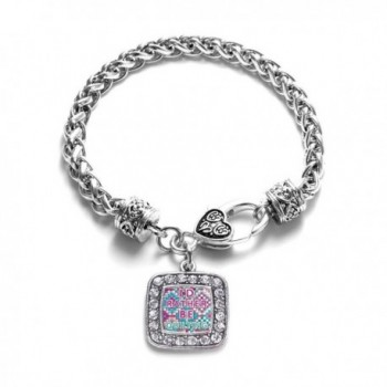I'd Rather Be Quilting Classic Braided Classic Silver Plated Square Crystal Charm Bracelet - CP11XMU68DP