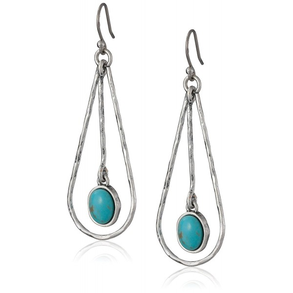 Lucky Brand Oblong Turquoise Colored Hoop Earrings - C011C6KGYKT