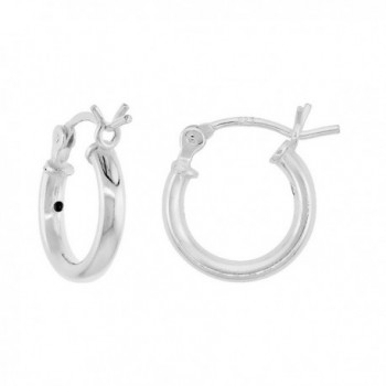 5ccfa808d2f10 3 Pairs Sterling Silver Small Tube Hoop Earrings with Post-Snap Closure 2mm  thick 1/2 inch round - CO11C0303O5
