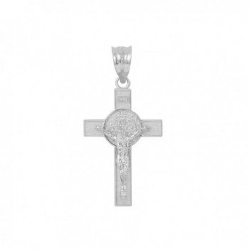 "925 Sterling Silver St. Benedict Crucifix Cross Charm Pendant (1.10"") - CH182SCW3YS"