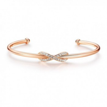 MYJS Infinity Cuff Bangle Bracelet Rose Gold Plated with Swarovski Crystals for Women - CJ12MRRQVJ9