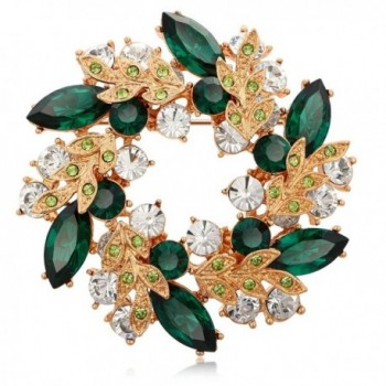 Kemstone Rose Gold Plated Cubic Zirconia Flower Brooch Pin for Women - flower-green - C518678ULOT