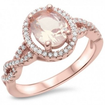 Sterling Silver Rose Gold Plated Champagne Morganite & Simulated Diamond AAA Cubic Zirconia Ring Sizes 4-11 - CR12NUOS69L