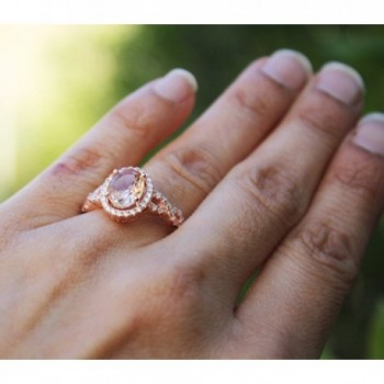 Sterling Silver Plated Morganite Zirconia in Women's Statement Rings