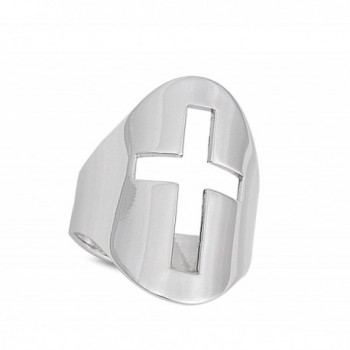 Cutout Christian Sterling Silver RNG15944 9 in Women's Band Rings