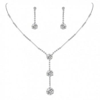 EleQueen Women's Full Cubic Zirconia Long Ball Round Bridal Y-Necklace Earrings Set - Silver-tone Clear - C411Z10H6K3