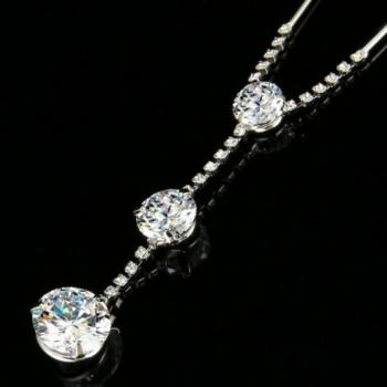 EleQueen Zirconia Y Necklace Earrings Silver tone in Women's Jewelry Sets