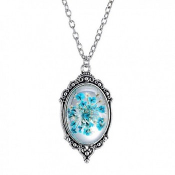 PMTIER Women's Vintage Oval Pressed Flower Pendant Epoxy Gemstone Necklace 21 Inch Chain - Blue - C812LP8ANL7