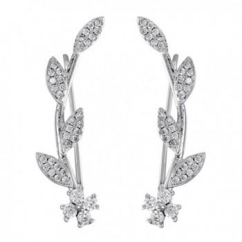 Ear Crawler Earrings Hypoallergenic Ear Climber Wrap Earrings CZ Small Leaf - silver - C7186ZIAXQT