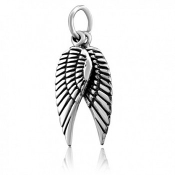 WithLoveSilver Sterling Silver 925 2 Pieces Oxidized Angel Wings Pendant - CQ11IBM68T3