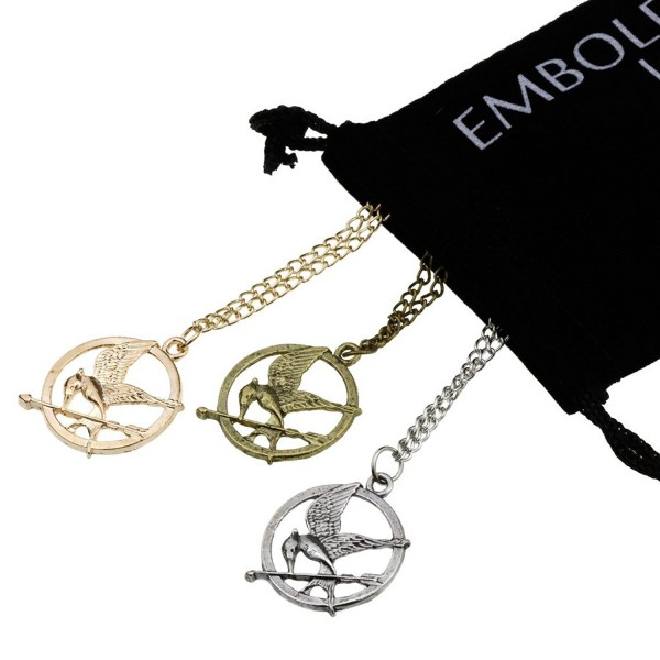 Charm Mocking Bird and Arrow Pendant Set Gold Bronze Silver in Long Sweater Chain Link Necklace - C2129SYYLBT