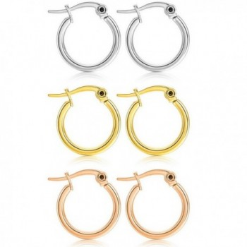 MOWOM Silver 15 50mm Stainless Earrings - 15mm x 3 Pairs ( all color ) - CT12K0EOZYJ