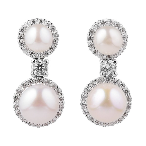 Sterling Silver Double White Cubic Zirconia Simulated Shell Pearl Drop Stud Earrings - CQ12KJO15ZH