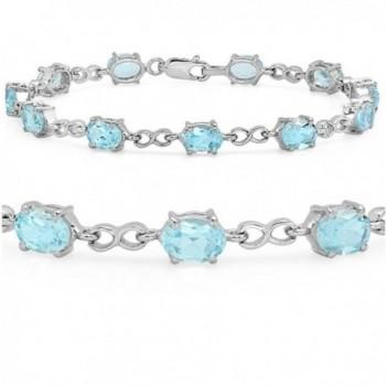 10ct Sky Blue Topaz Infinty Link Tennis Bracelet set in Sterling Silver 7 1/2 inch - CN11G4GK0O7