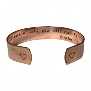 """God Is Within Her- She Will Not Fall. Psalm 46:5 Hand Stamped 1/2"""" Copper Cuff Bracelet - C512N0C4FMN"""