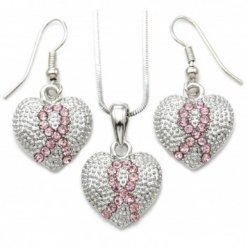 Pink Ribbon Breast Cancer Awareness Heart Pendant Necklace & Earrings Set Jewelry - CD110JFU9I1