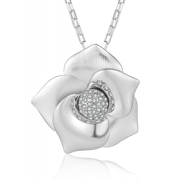 XZP Flower Pendant Necklaces Women's White Gold Plated Necklace with Swarovski Crystal Jewelry - CV180KYE6E0