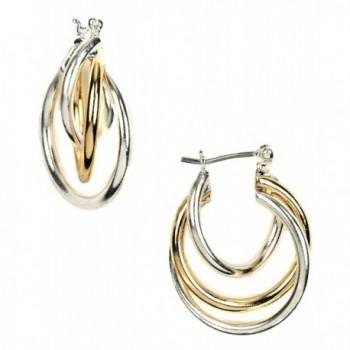 Napier Two-Tone Twist Hoop Earrings One Size - C711E481MMB