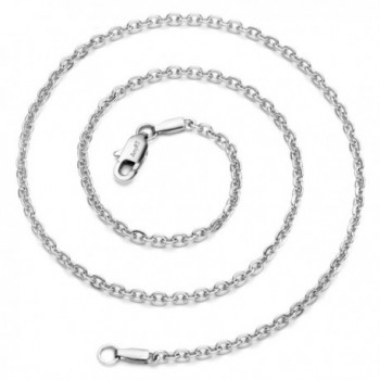 """AmyRT Jewelry 3mm Titanium Steel Cable Chain Silver Necklaces for Women 18""""- 30"""" - CL12N00IWAB"""