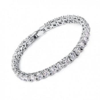 Neoglory Jewelry Platinum Plated Round-cut Cubic Zirconia Classic Tennis Bracelet- 5mm 1 Carat 7 Inch - C7126HXORBD