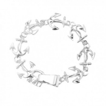 Silver Plated Nautical Starfish or Anchor Bracelet with Magnetic Closure - CY11LVYI46X