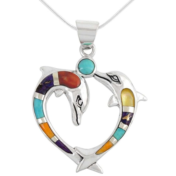 Dolphin Necklace Sterling Turquoise Gemstones - Multi Gemstones - C717YE4RC8Y