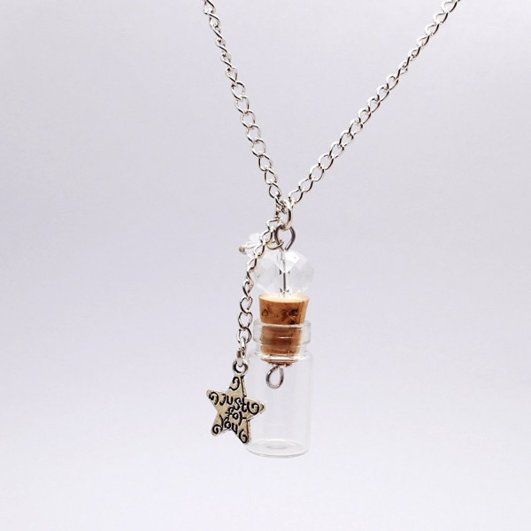 Mini Apothecary Bottle Chain Necklace DIY Essential Oil Necklaces with Star Pendant Necklaces - C5121DST7PD