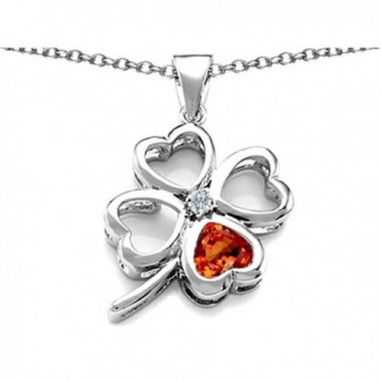 Star K Sterling Silver Large 7mm Heart Shape Lucky Clover Heart Pendant - Simulated Orange Fire Opal - CZ11GFPPYFR