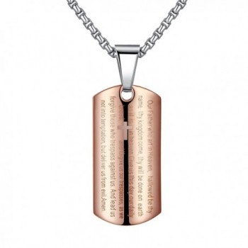 """Aoiy Stainless Steel Lord's Prayer and Cross Medallion Pendant Necklace- Unisex - """"Rose-Gold-Color- 21"""""""" Chain"""" - CE12CB82YZT"""
