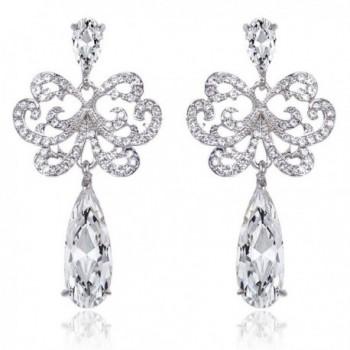 EVER FAITH Bridal Silver-Tone Lace Flower Teardrop Dangle Earrings Austrian Crystal Clear Zircon - CU11FD8F3TJ