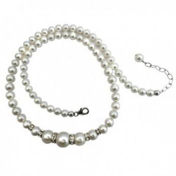 Simulated White Pearl Necklace Made with Swarovski Crystal Elements. Sterling Silver Clasp and Extension - C311U4Z044Z