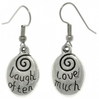 Jewelry Trends Pewter ' Laugh Often - Love Much ' Inspirational Message Word Dangle Earrings - CX11FERQHIP