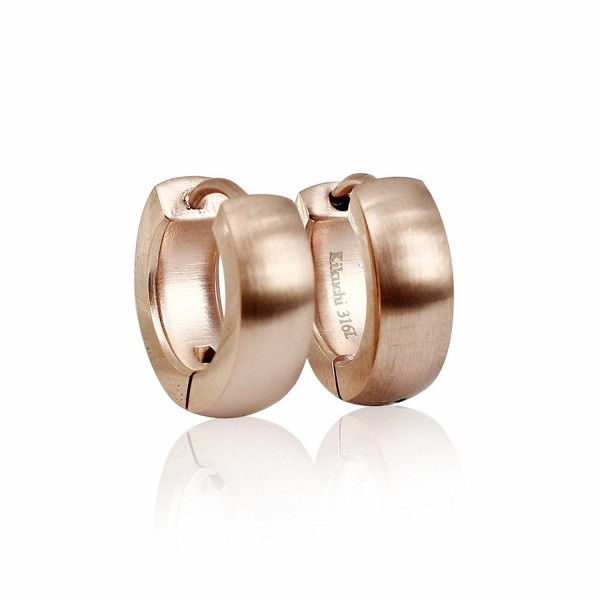 Bonnie Women's Rose Gold Stainless Steel Huggie Hoop Earrings 15mm - Silk Surface - CH11SA2DY9F