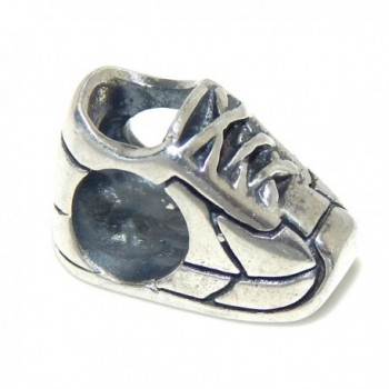 "Solid 925 Sterling Silver ""Sneaker"" Charm Bead for European Snake Chain Bracelets - CX17YESO3TH"