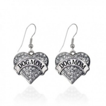 Dog Mom Pave Heart Earrings French Hook Clear Crystal Rhinestones - CK1240JXTVZ