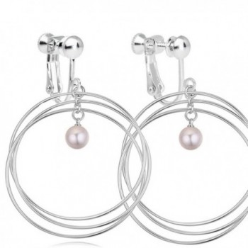 Latigerf Women Simulated-pearls Screw Back Clip on Earring Non-Pierced Circle White - CO12FOEVUEX